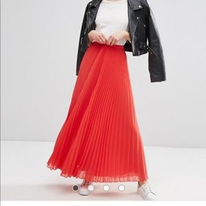ASOS Red Pleated Maxi Skirt PRICE FIRM